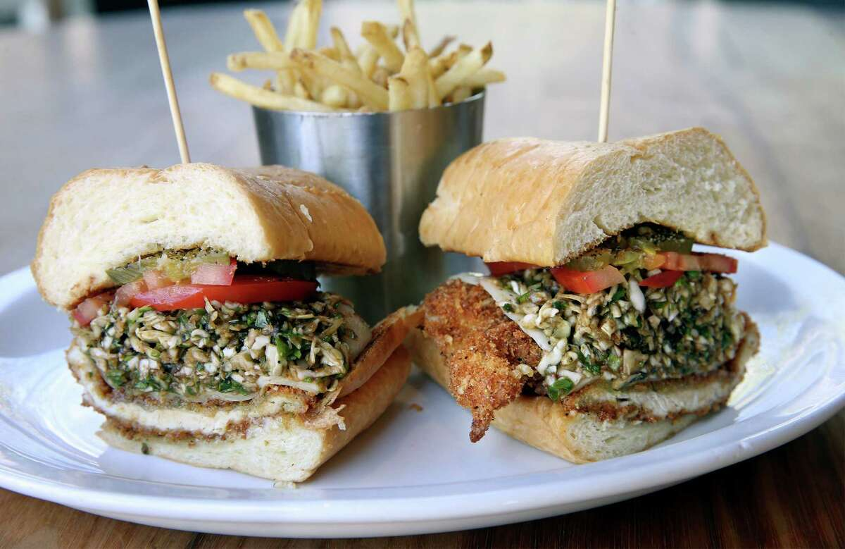 The crispy chicken sandwich includes a slightly tangy and sweet balsamic slaw.