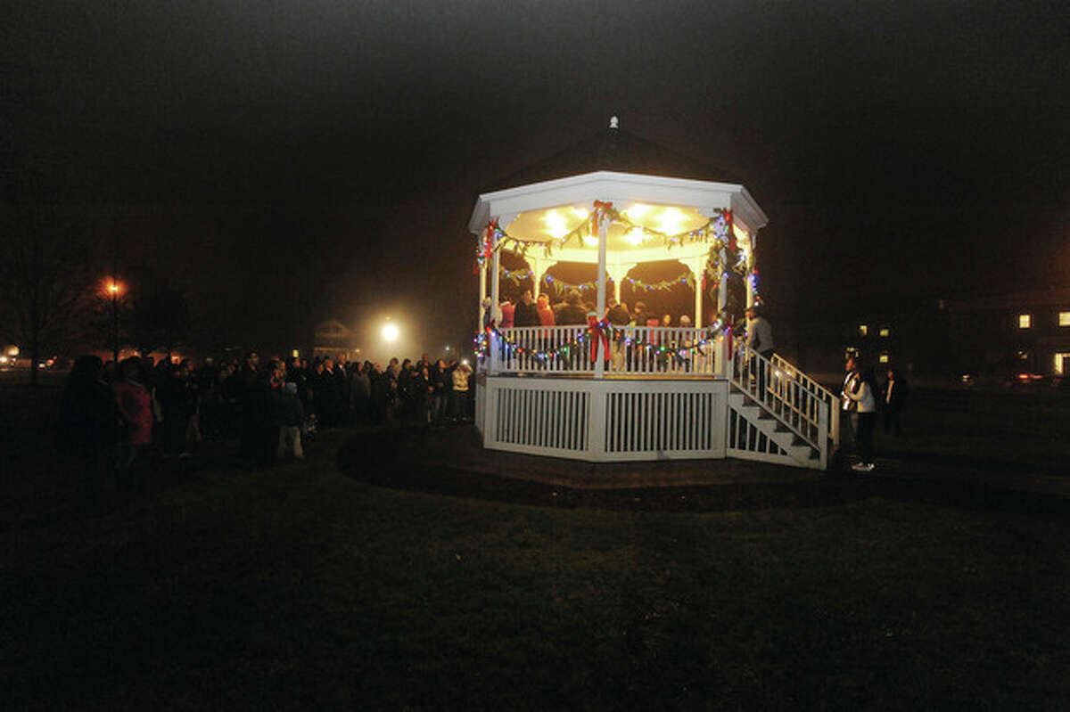 Hour photo/Matthew Vinci The gazebo at the Norwalk Green during the annual tree lighting ceremony on Monday night.