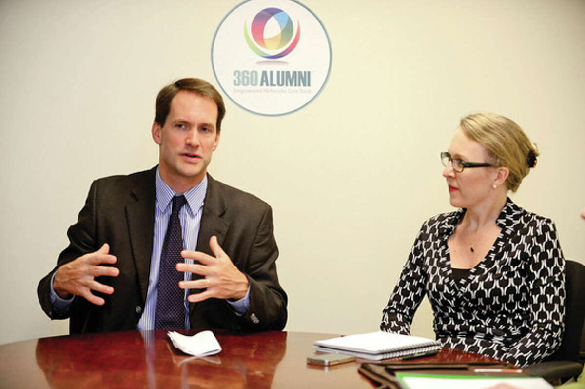 Congressman Jim Himes (CT-4) meets with local entrepreneurs, including Christina Balotescu, Founder, 360Alumni, to highlight how they help boost Connecticut's economy and discuss what federal initiatives will help startups continue to grow during a roundtable discussion Tuesday morning at 360 Alumni offices in Westport. Mona Jhaveri, Founder, Beats of Laughter Jenna Dreher Fernandez, Founder, Care Booker Heather Strycharz, Founder, Love Local Design Cathy Heyne, Managing Director Marketing & Business Development, Living Abroad Dana Noorily, Co-Founder, OATS Granola Julie Gaines, Co-Founder, OATS Granola Howard Steinberg, Founder, Westport Innovation HUB Hour photo / Erik Trautmann