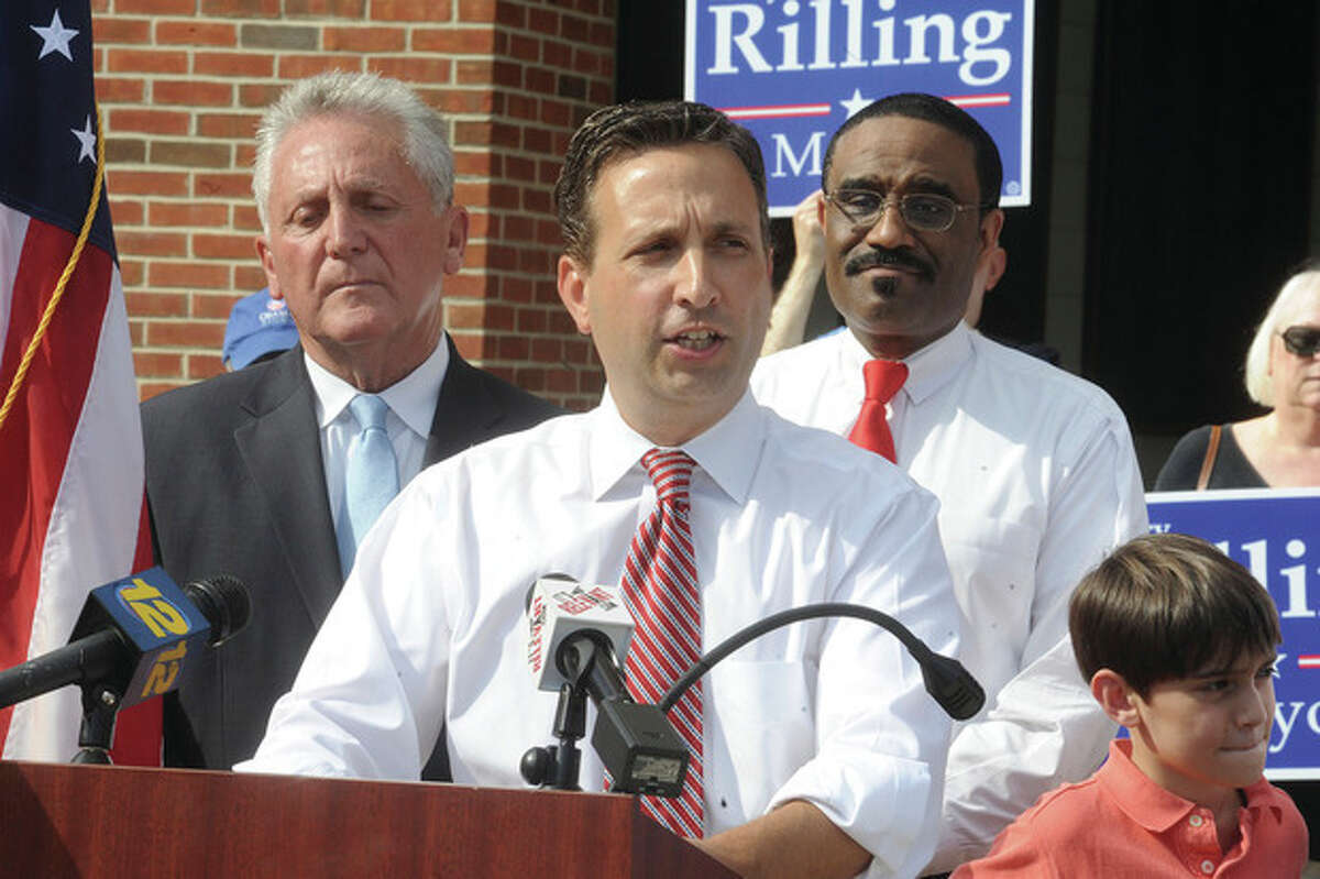 Hour photo/Matthew Vinci State Sen. Bob Duff anounces his support of Harry Rilling for Mayor of Norwalk on Tuesday at Norwalk City Hall.