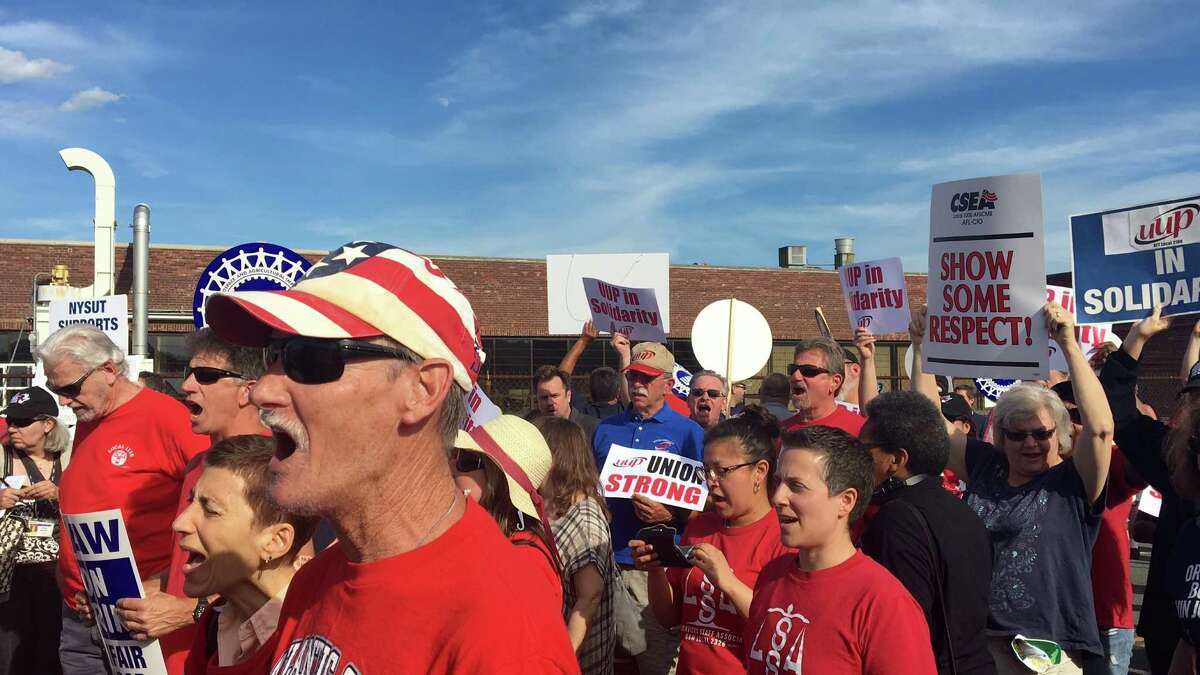 UAW supporters chanted Wednesday outside the Green Island Honeywell factory several weeks into a lockout following failed contract negotiations.