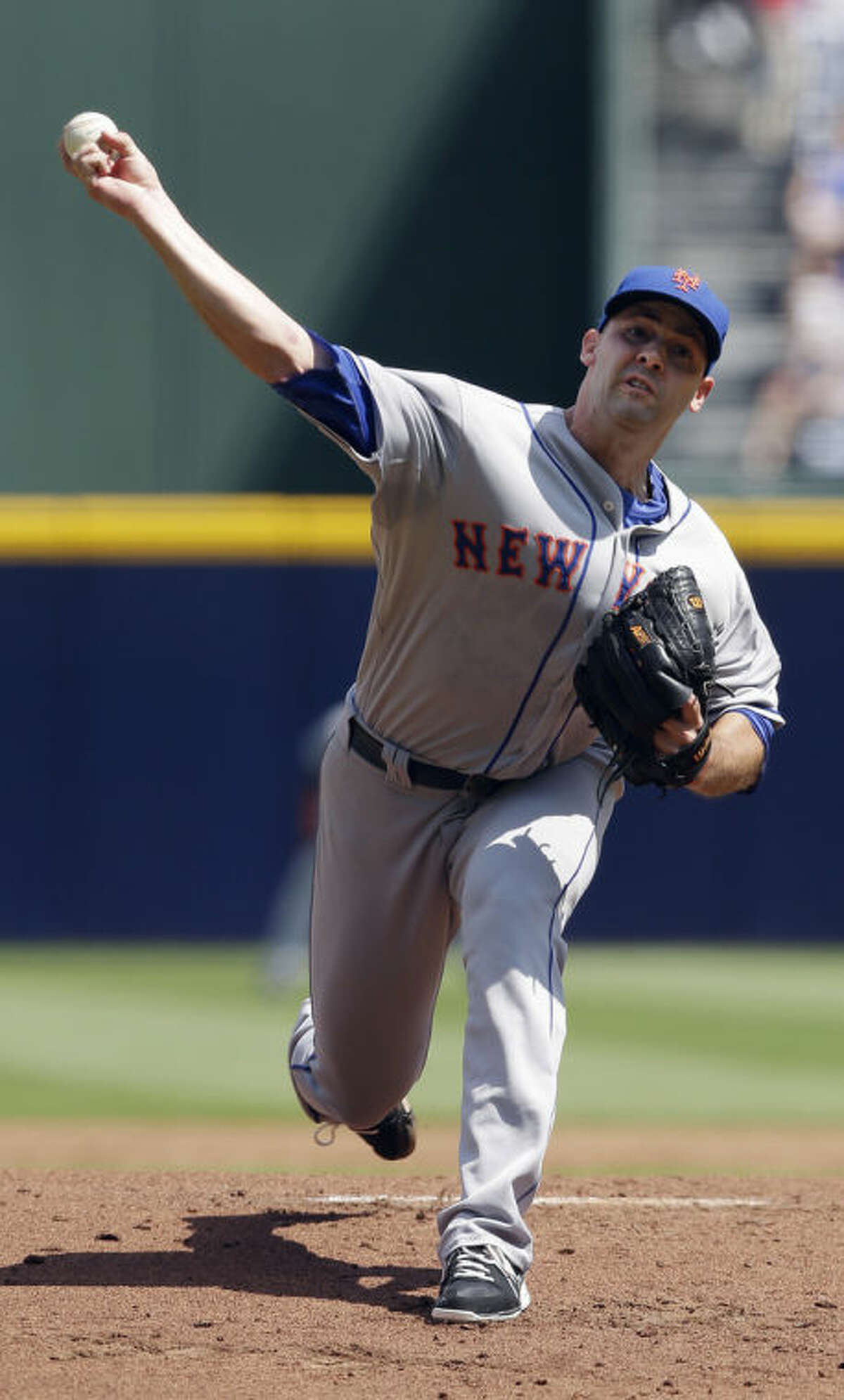 New York Mets starting pitcher Dillon Gee (35) works against the Atlanta Braves in the first inning of a baseball game Wednesday, Sept. 4, 2013 in Atlanta. (AP Photo/John Bazemore)