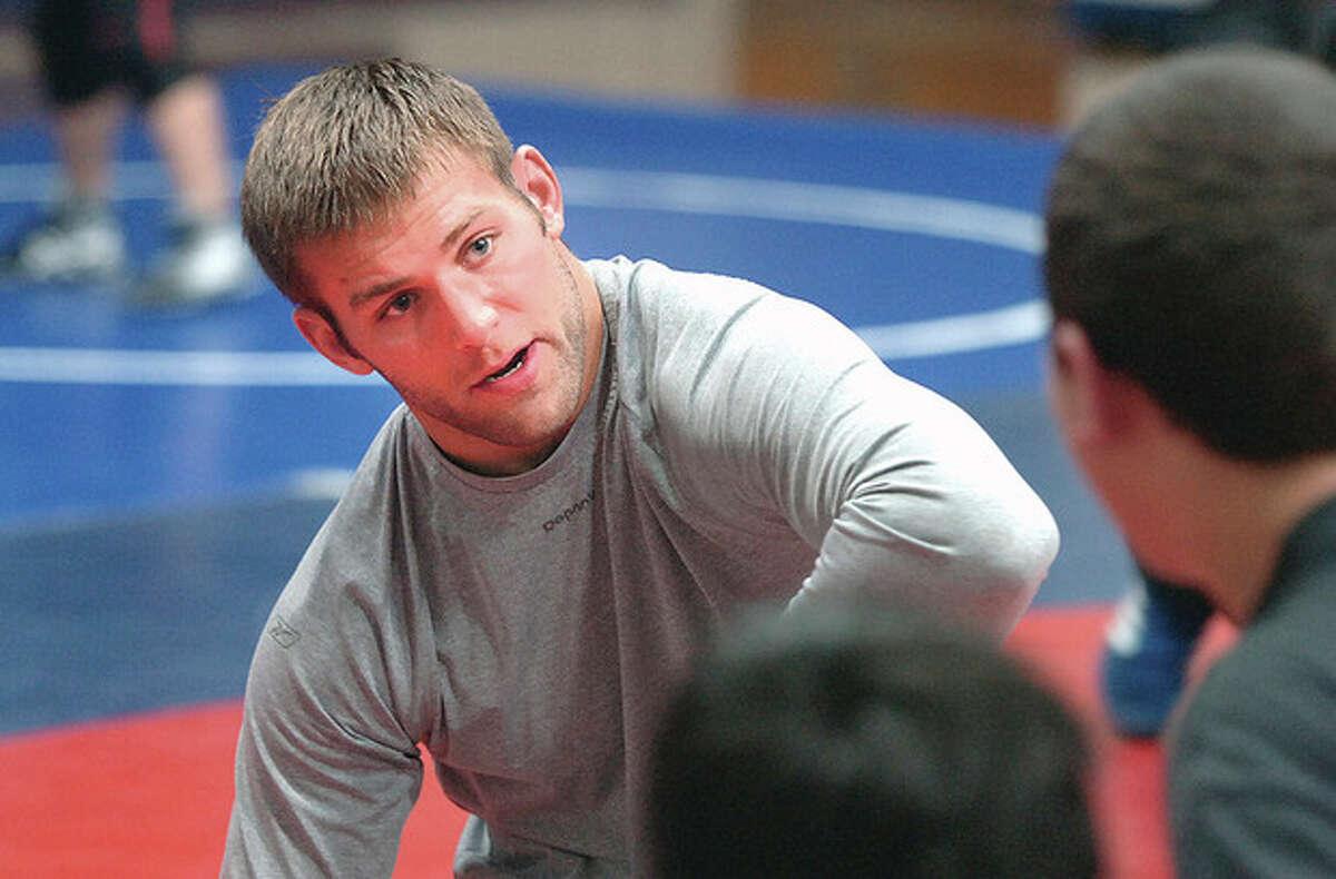Hour Photo/Alex von Kleydorff. Staples Wrestleing coach Dave Bernstein