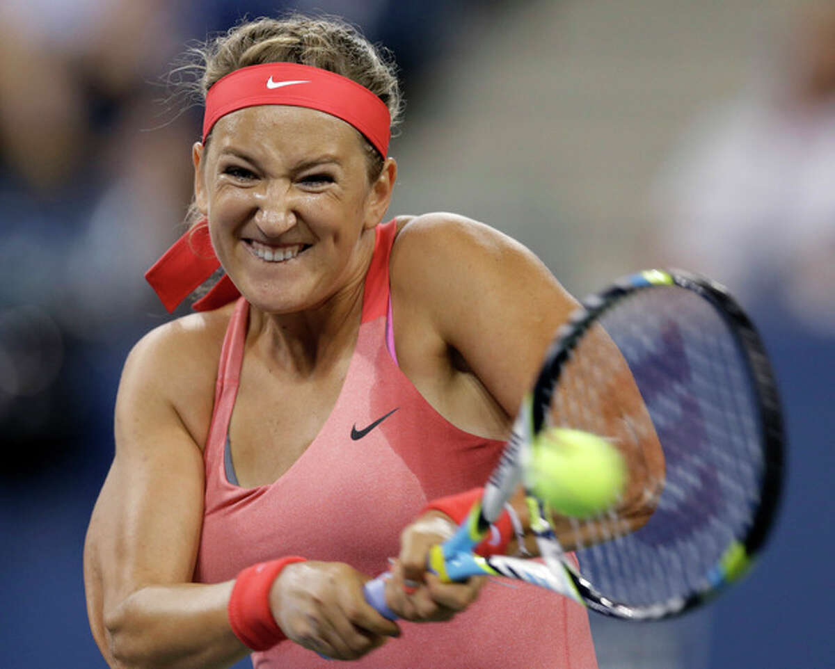 Victoria Azarenka, of Belarus, returns a shot toDaniela Hantuchova, of Slovakia, during a quarterfinal of the U.S. Open tennis tournament Wednesday, Sept. 4, 2013, in New York. (AP Photo/Darron Cummings)