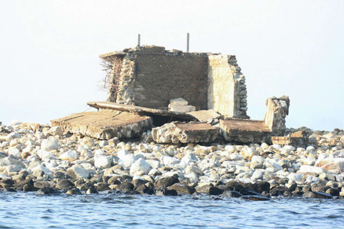 Hour photo / Chris Bosak The structure at Goose Island has been destroyed by Hurricane Sandy.