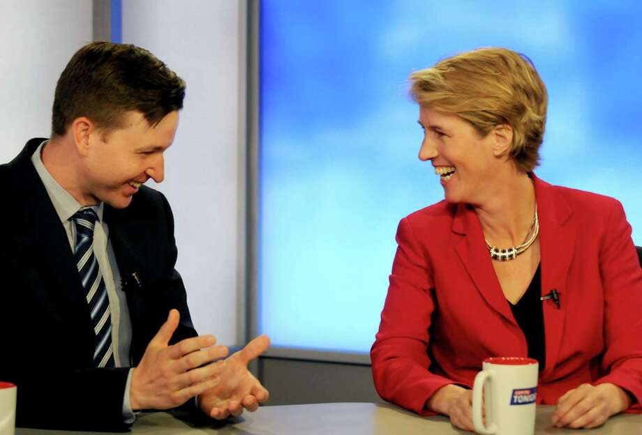 Will Yandik, left, and Zephyr Teachout Democratic candidates for the 19th Congressional District seat, debate on Capital Tonight at the TWC News studios on Wednesday June 15, 2016 in Albany, N.Y. (Michael P. Farrell/Times Union) Photo: Michael P. Farrell / 40036990A