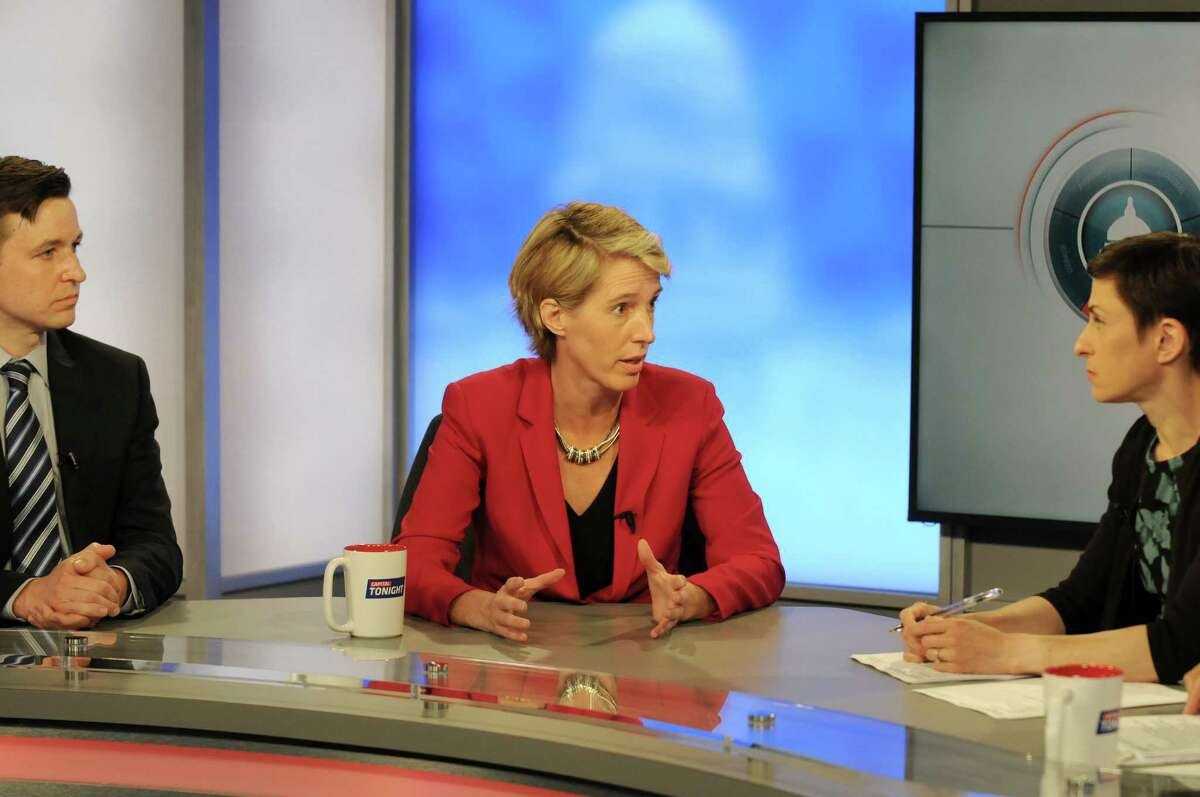 Will Yandik, left, and Zephyr Teachout, Democratic candidates for the 19th Congressional District seat, debate on