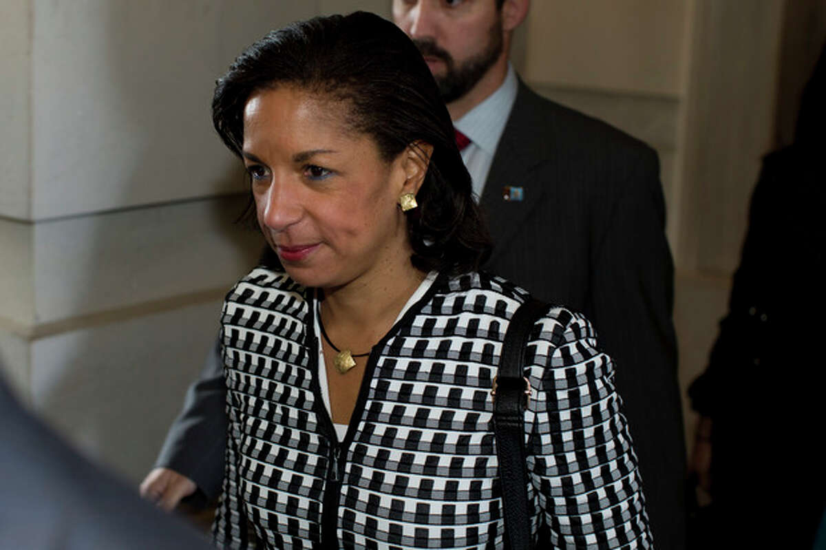 FILE - This Nov. 28, 2012 file photo shows UN Ambassador Susan Rice leaving a meeting on Capitol Hill in Washington. Rice has withdrawn from consideration for secretary of state. (AP Photo/ Evan Vucci, File)