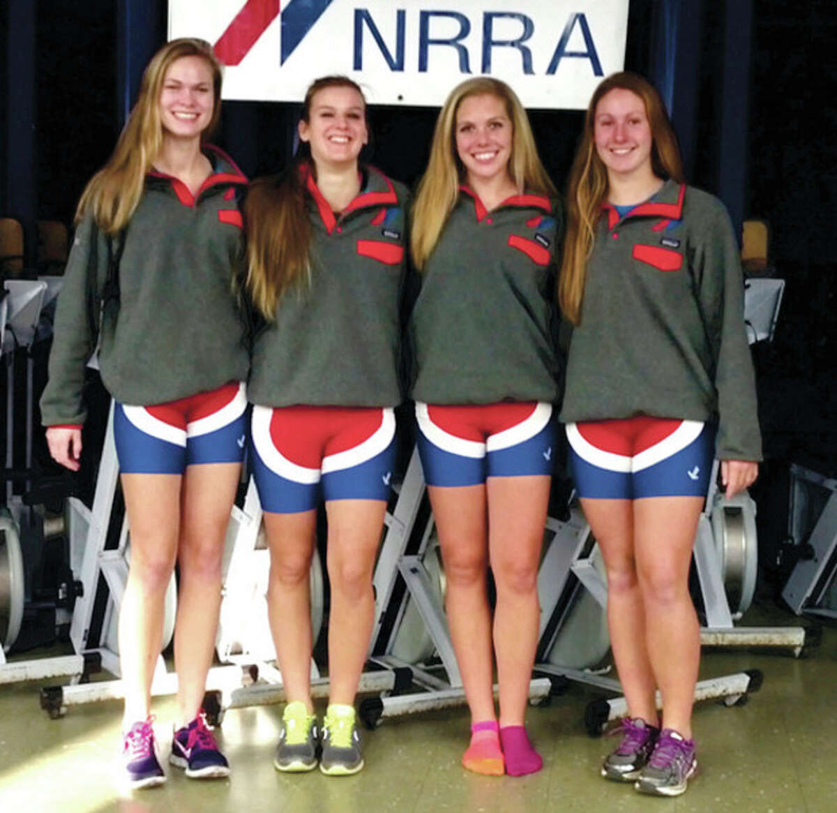 Contributed photo Four Norwalk River Rowing Association competitors have signed National Letters of Intent to attend and compete for Division I schools. The quarter, from left, includes Amanda Jenkins of Wilton, Julia Barr of Norwalk, Kylie O'Conner of Wilton and Maggie Walsh of Trumbull.