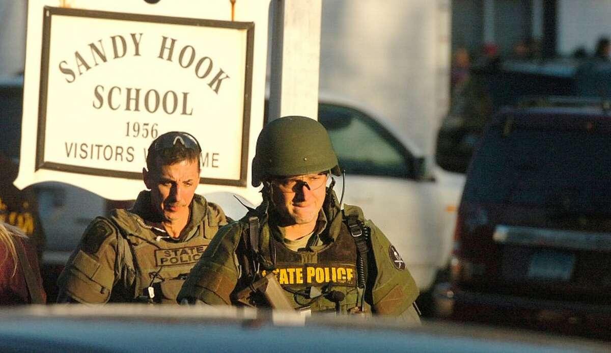 Hour Photo/Alex von Kleydorff. Scene of a mass shooting at the Sandy Hook School in Newtown ct on Friday