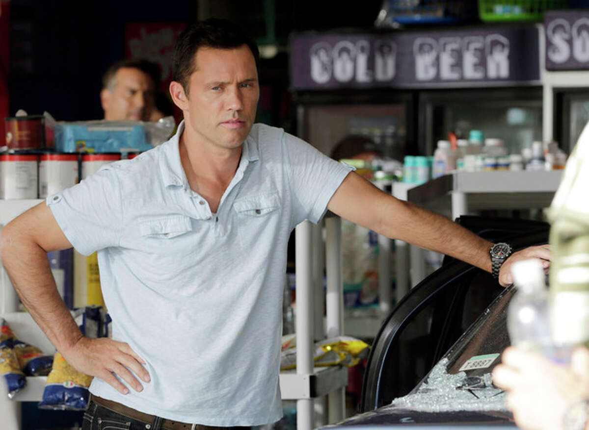 In this July 24, 2013, photo, Jeffrey Donovan prepares for a rehearsal for an episode of