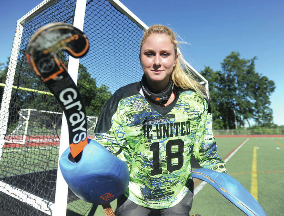 Hour photo/John NashKaylee Maguire of the Brien McMahon field hockey team finally gets her shot as the Senators starting goalie heading into her senior year.