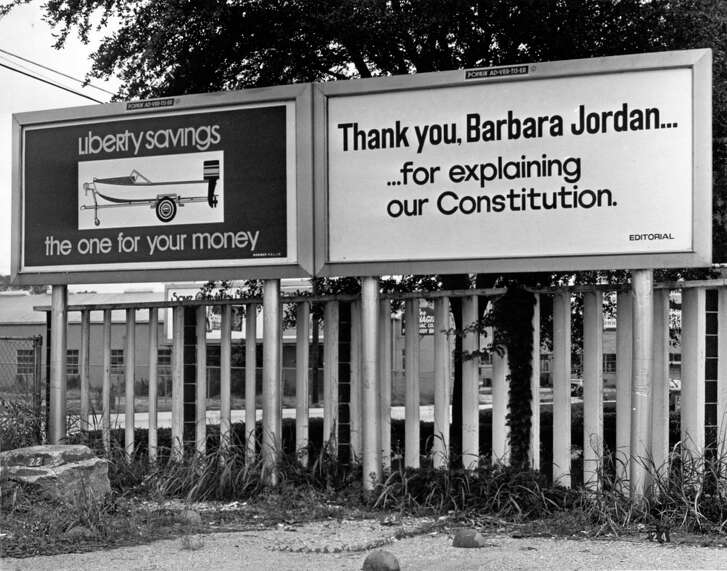 """Houston billboard which reads in July 1974 """"Thank you,Barbara Jordan... for explaining our Constitution"""" went up after U.S. Rep. Barbara Jordan's participation in the House Judiciary Committee debate on articles of impeachment for President RIchard M. Nixon in Washington, D.C. (Chronicle file photo)"""