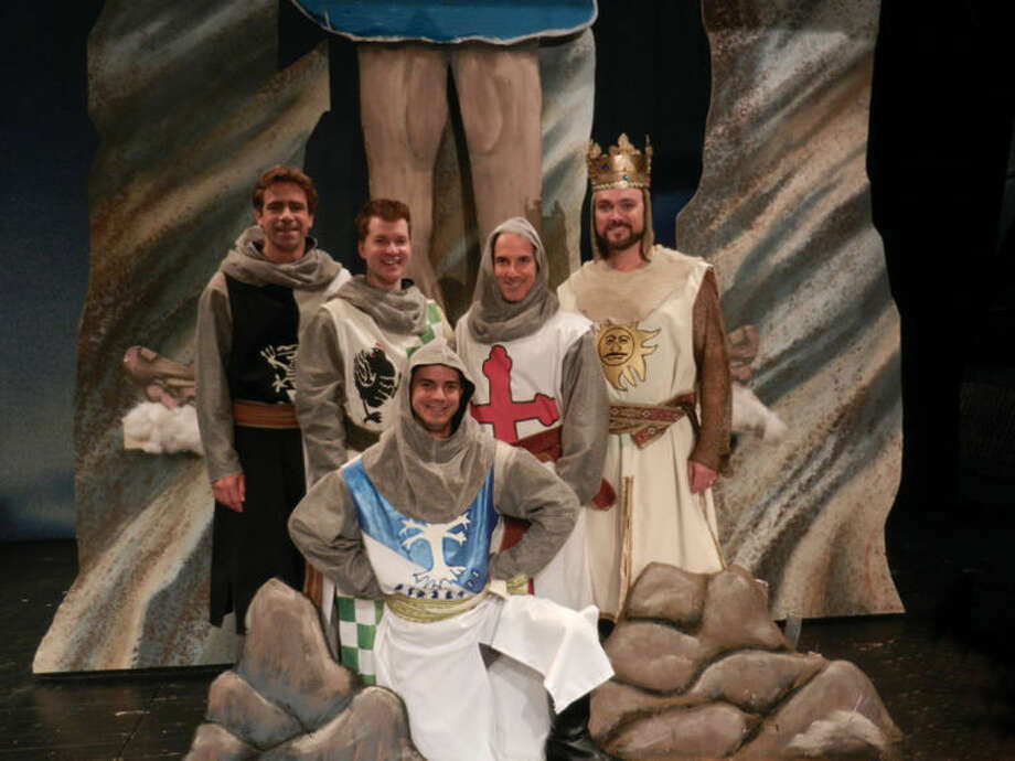"King Arthur and his knights of the round table in Curtain Call's production of Monty Python's ""Spamalot"" are played by, from left to right: Joe Efferen, Richard Cummings, Brian Meltzer and Brian Maher; kneeling is Matt Martin. This area premiere production will be shown at The Kweskin Theatre, from Sept. 13 through Oct. 5."