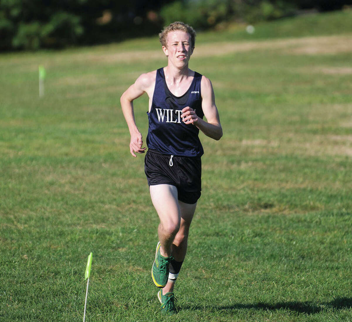 Fred Gaston photo - Wilton High boys cross country runner Spencer Brown could be the frontrunner in this year's race for the FCIAC boys individual championship.