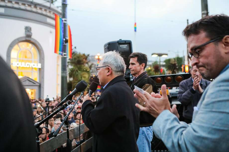 Mayor Ed Lee (center) speaks during a vigil service to honor the victims of the Orlando massacre, in the Castro District, in San Francisco, California, on Sunday, June 12, 2016. Photo: Gabrielle Lurie, Special To The Chronicle