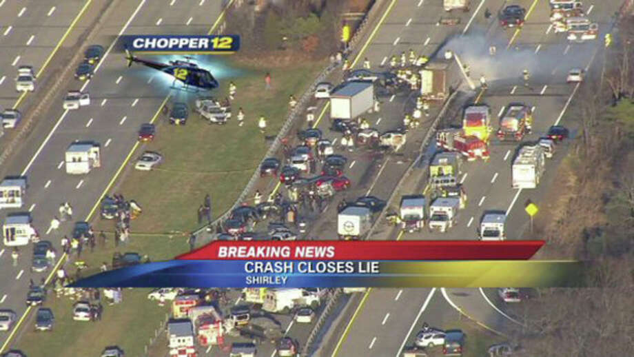 This image taken from video on the News 12 Long Island website shows an aerial view of a multi-vehicle accident on the Long Island Expressway, Wednesday, Dec. 19, 2012, in Shirley, N.Y. Police have closed the Expressway between exits 65 and 69 so first responders can work the scene. Over 20 vehicles are believed to be involved. (AP Photo/News 12 Long Island) MANDATORY CREDIT: NEWS 12 LONG ISLAND / News 12 Long Island