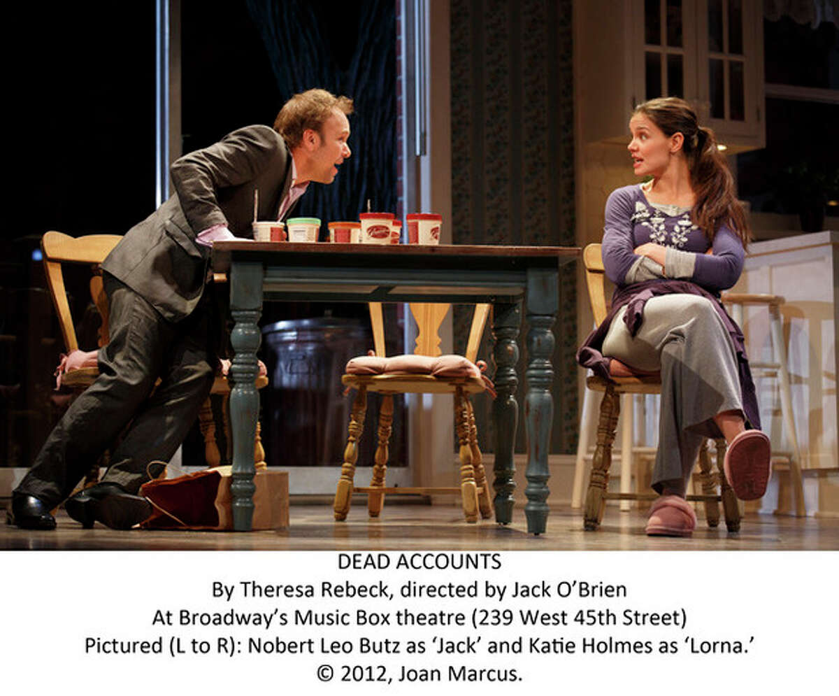 DEAD ACCOUNTS By Theresa Rebeck, directed by Jack O'Brien At Broadway's Music Box theatre (239 West 45th Street) Pictured (L to R): Nobert Leo Butz as 'Jack' and Katie Holmes as 'Lorna.' © 2012, Joan Marcus.