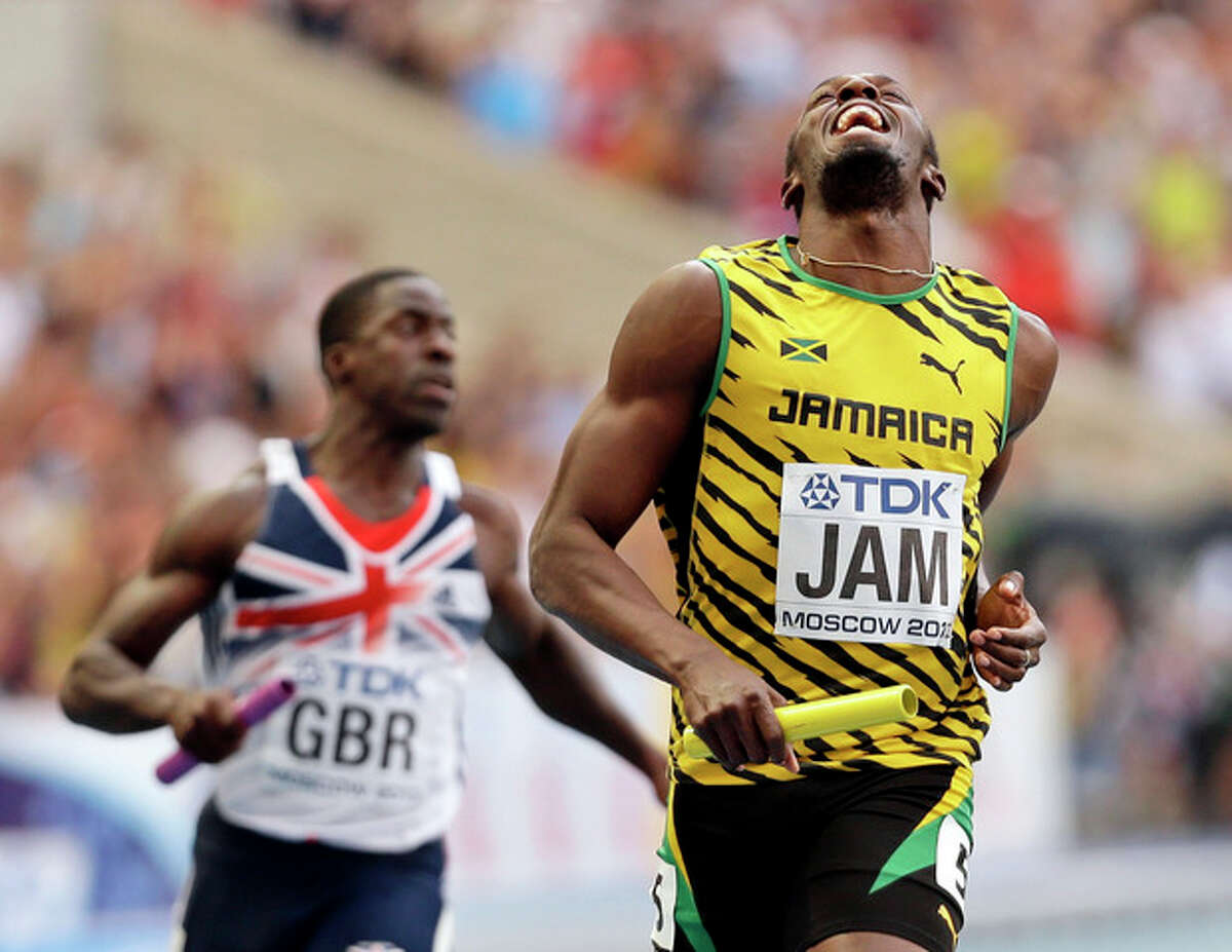 Sunday, Aug. 18, 2013: Jamaica's Usain Bolt reacts as he wins the men's 4x100-meter relay final at the World Athletics Championships in the Luzhniki stadium in Moscow. (AP Photo/Anja Niedringhaus)