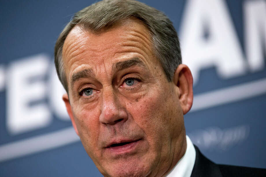 Speaker of the House John Boehner, R-Ohio, joined by the Republican leadership speaks to reporters about the fiscal cliff negotiations with President Obama following a closed-door strategy session, at the Capitol in Washington, Tuesday, Dec. 18, 2012. (AP Photo/J. Scott Applewhite) / AP