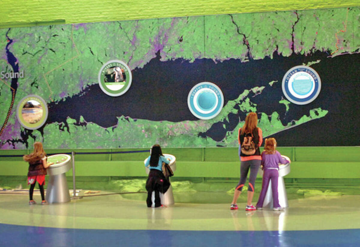Families look over the new giant map of Long Island Sound which was part of the Maritime Aquarium's 4 million dollar Fintastic Refurbfishment. Hour photo / Erik Trautmann