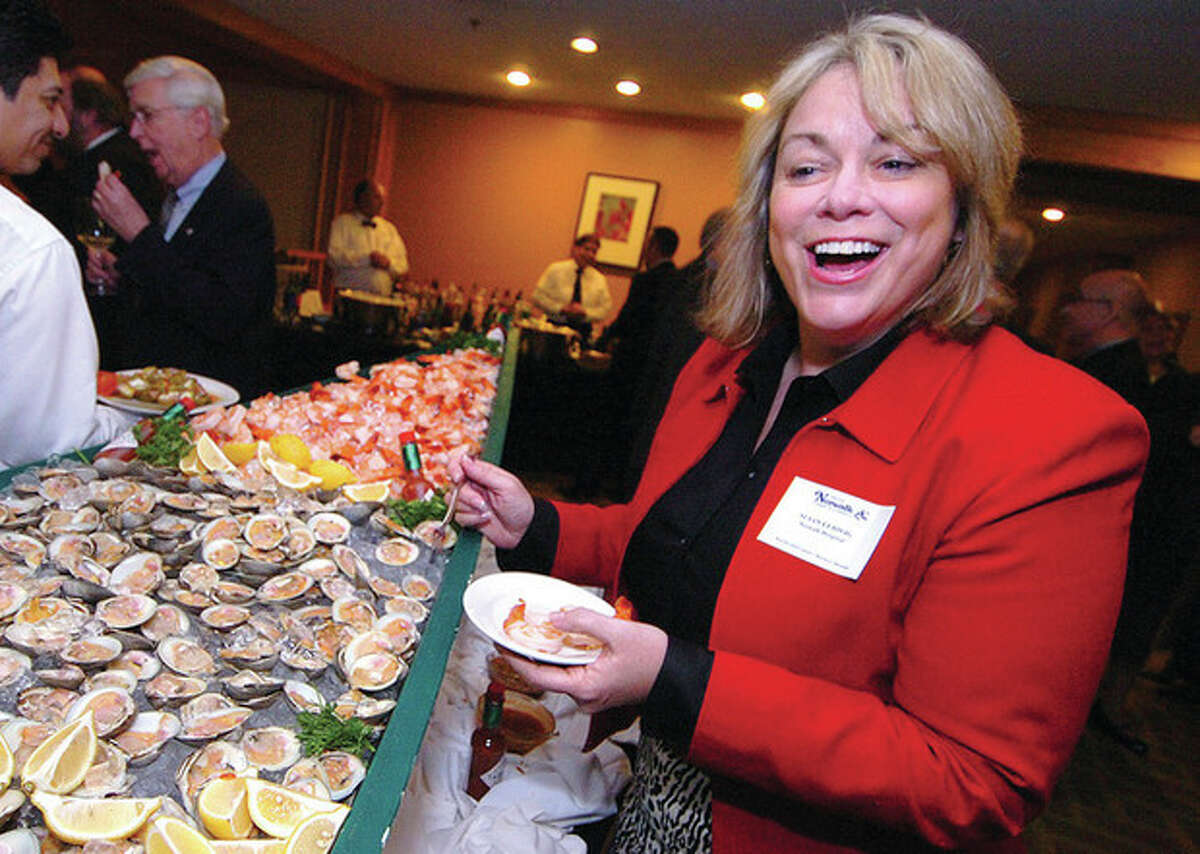 Hour Photo/Alex von Kleydorff. Susan Ludwig at the Norwalk Chamber of Commerce holiday dinner