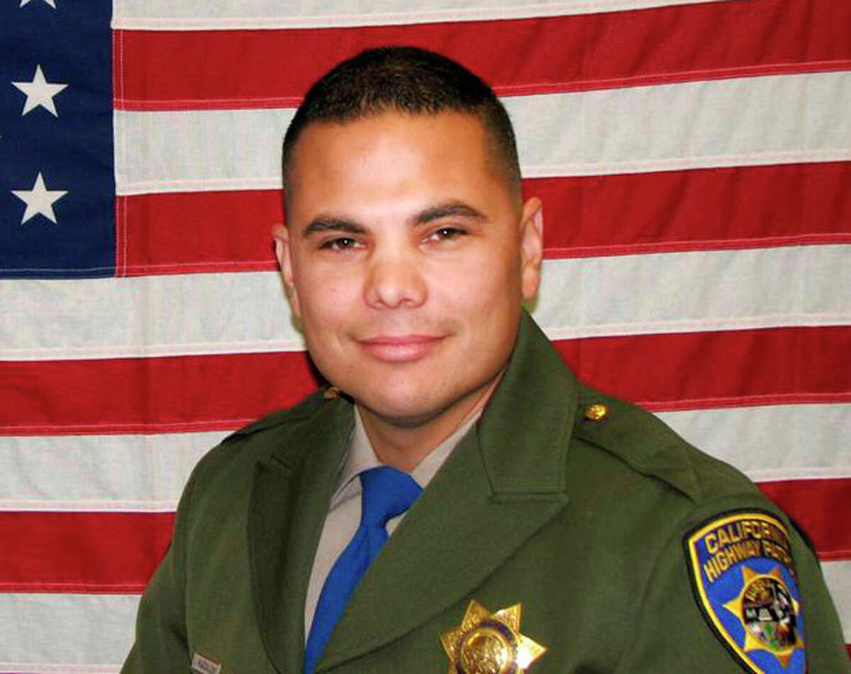 In an undated photo provided by the California Highway Patrol, shows CHP officer Jesus Magdaleno Jr., 33, an 8-year-veteran. The off-duty officer was killed Sunday, Aug. 18, 2013, after he and a friend Brandon Cruz, 31, jumped into the bed of Magdaleno's pickup truck while it was being stolen from the Flamingo hotel while it was being loaded with luggage for the trip home after the officer?'s bachelor party. Magdaleno, was killed and Cruz, suffered a severe head injury and was in extremely critical condition Monday after both men were thrown from the truck as it crashed. (AP Photo/California Highway Patrol)