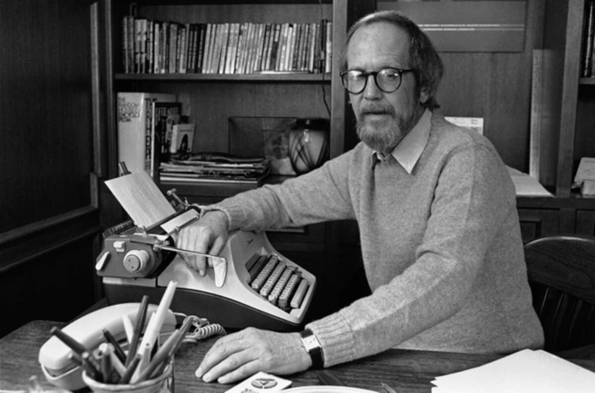 AP photo / Rob Kozloff In this March 31, 1983, file photo, writer Elmore Leonard sits by his typewriter at his home in Birmingham, Mich. Leonard, a former adman who later in life became one of America's foremost crime writers, has died. He was 87. His researcher says he passed away Tuesday morning from complications from a stroke.