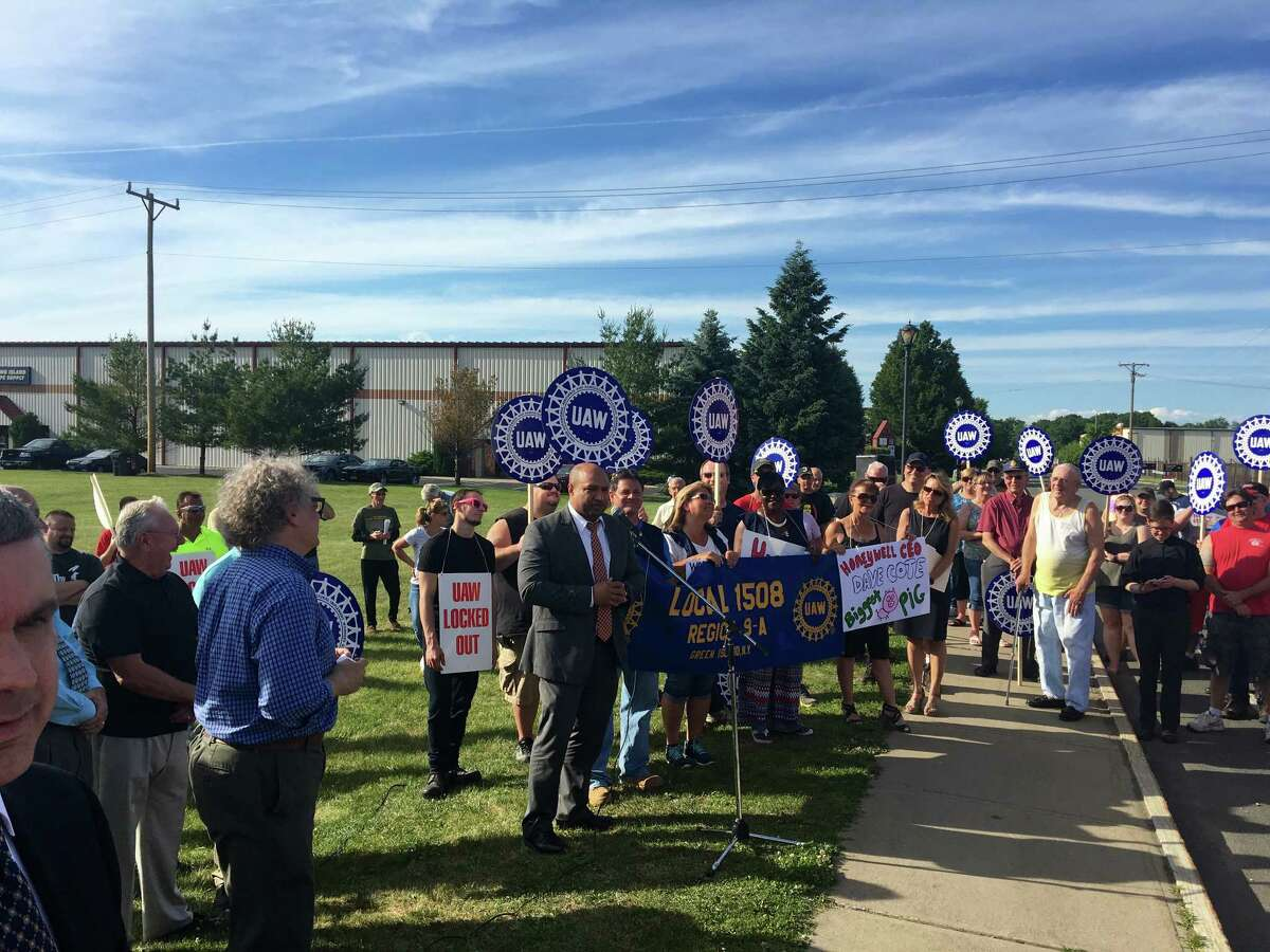 Albany County District Attorney David Soares spoke to attendees on Wednesday who supported the 42 locked-out Honeywell Aerospace union workers.
