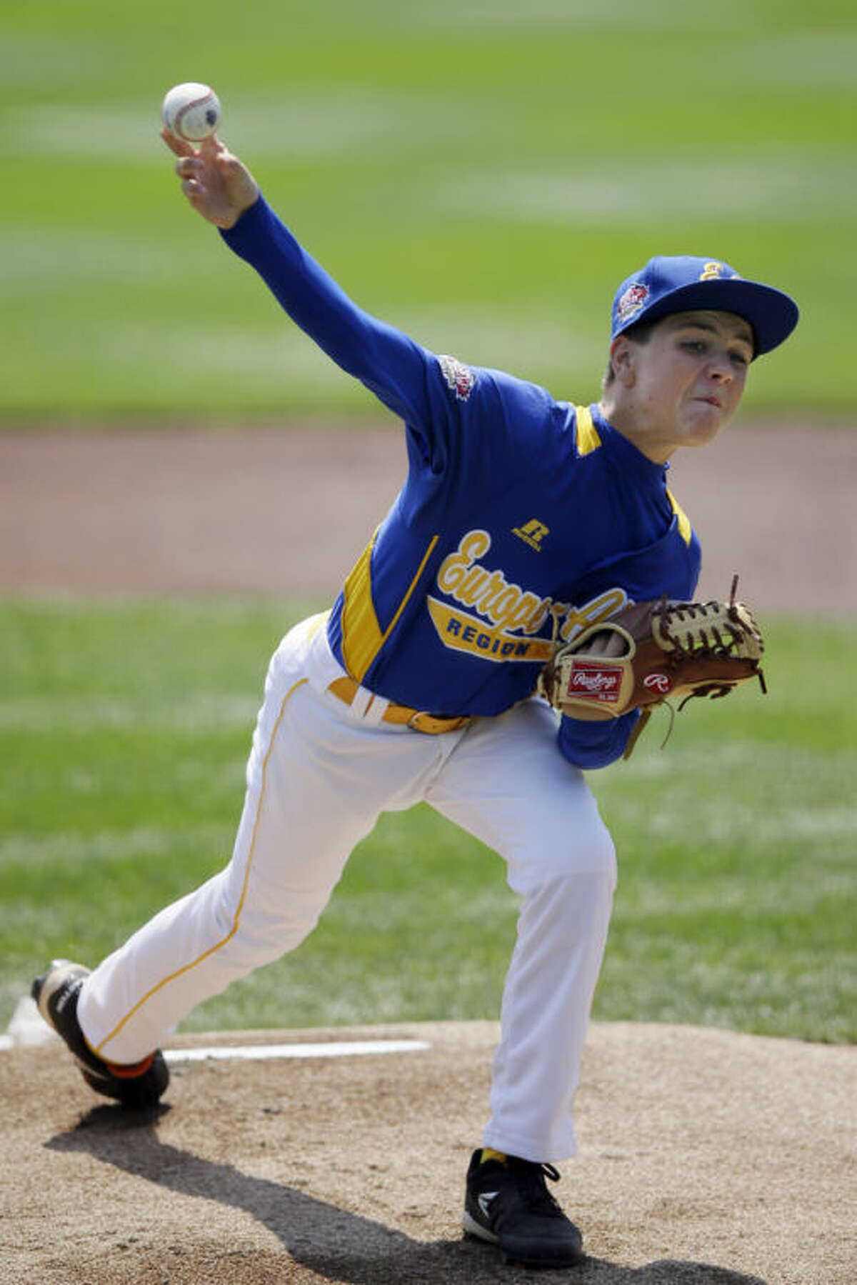 Brno, Czech Republic's Robin Varva pitches during the first inning of a consolation baseball game against Grosse Pointe, Mich. at the Little League World Series tournament, Tuesday, Aug. 20, 2013, in South Williamsport, Pa. (AP Photo/Matt Slocum)