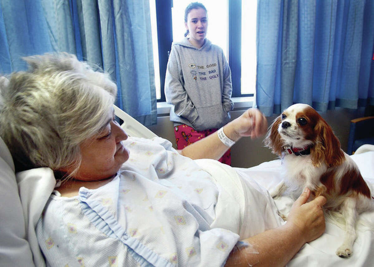 """AP file photos / Sauk Valley Media, Alex T. Paschal In these Dec. 4 photos, at left, Cally Lanae, a Cavalier King Charles spaniel, sits on the lap of patient Robin Jaggers while making the rounds at the CGH Medical Center in Sterling, Ill. Cally is one of 15 dogs participating in the hospital's new """"Love on a Lease"""" dog-therapy program where trained dogs and their handlers spend time visiting with patients. At right, Steven Van Dusen, also a patient at the center, pets Cally, held by owner Wendy Johnson."""