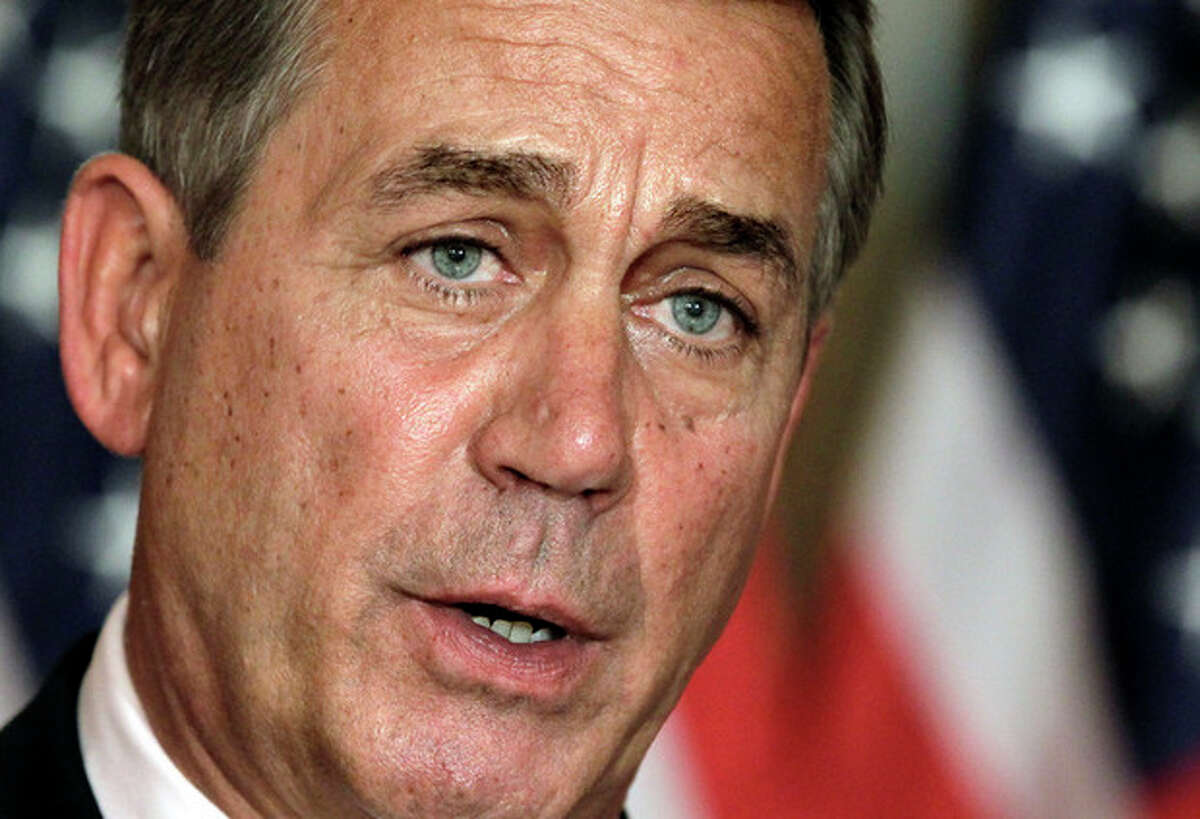 AP photo House Speaker John Boehner, R-Ohio, speaks at a news conference on Capitol Hill in Washington in this file photo. President Obama and Speaker Boehner met at the White House on Monday in search of a compromise to avert fiscal cliff.