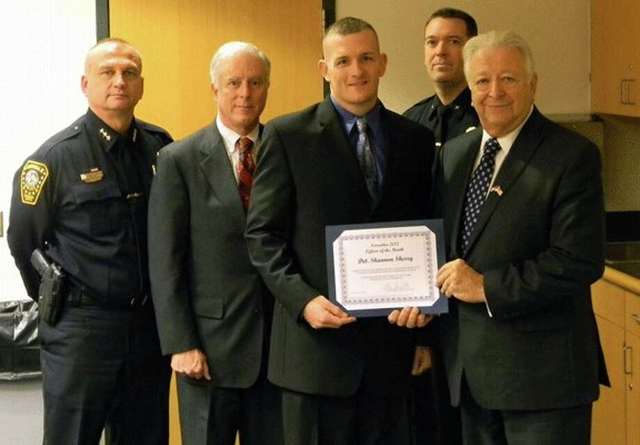 From the left, Chief Thomas Kulhawik, Commissioner Dan O'Connor, Det. Sherry, Deputy Chief David Wrinn and Mayor Richard Moccia.