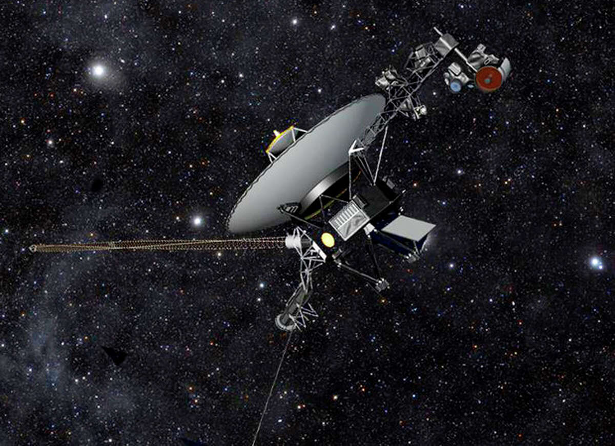 This artist rendering released by NASA shows NASA?'s Voyager 1 spacecraft barreling through space. The space agency announced Thursday, Sept. 12, 2013 that Voyager 1 has become the first spacecraft to enter interstellar space, or the space between stars, more than three decades after launching from Earth. (AP Photo/NASA)