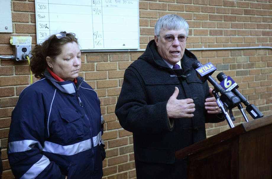 Blair County District Rich Consiglio, right, and Blair County Coroner Patricia Ross talk to the media about a shooting in rural central Pennsylvania on Friday, Dec. 21, 2012 in Geesytown, Pa. The suspect fired at troopers responding to Friday morning's shootings in Frankstown Township, about 70 miles west of Harrisburg. The fleeing gunman then crashed head-on into a trooper's car and got out of his truck and shot again at police, who returned fire and killed him. Consiglio says the gunman killed two men and one woman. (AP Photo/Altoona Mirror, J.D. Cavrich) / Altoona Mirror