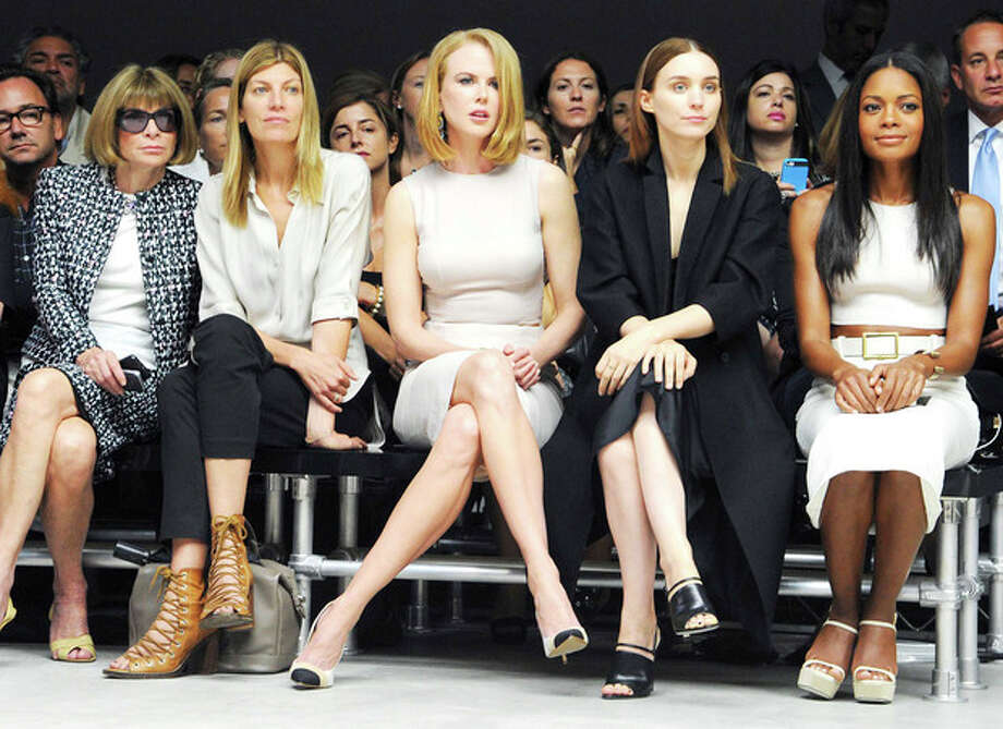 This image released by Calvin Klein Collection shows, from left, Anna Wintour, Virginia Smith, Nicole Kidman, Rooney Mara, and Naomie Harris at the Calvin Klein Spring 2014 collection during Fashion Week in New York on Thursday, Sept. 12, 2013. (AP Photo/Calvin Klein Collection, Billy Farrell) / Calvin Klein Collection