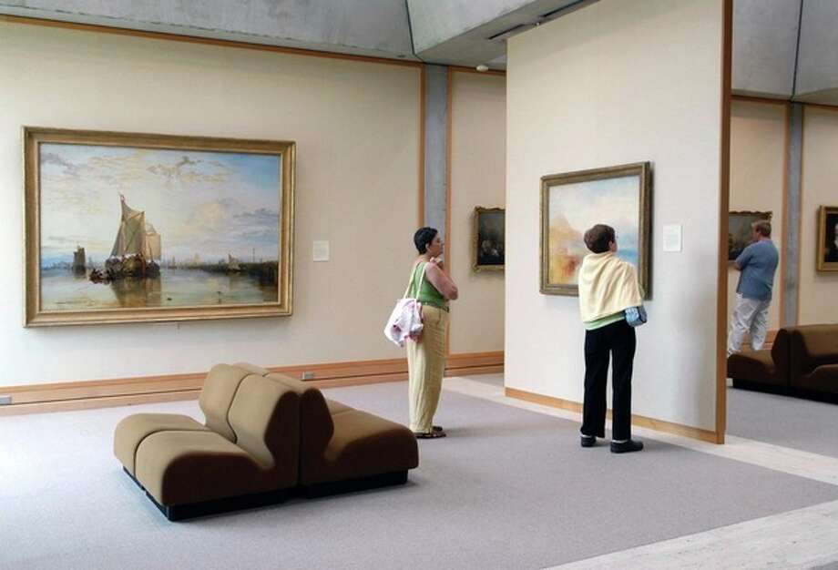 This undated image provided by Yale University shows a gallery with a painting by J.M.W. Turner at the Yale Center for British Art in New Haven, Conn. The center houses the largest collection of British art outside the United Kingdom. It's one of a number of free things to see and do in Connecticut. (AP Photo/Yale University, Michael Marsland) / Yale University