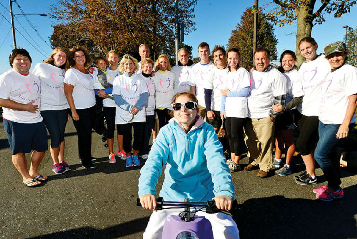 """14-year-old Elizabeth """"Lizzy"""" Piro who suffers from Kearns-Sayre Syndrome and her family at The 3rd Annual Lizzy's Walk for KSS to support of those individuals and families affected by mitochondrial disease. Hour photo / Erik Trautmann"""
