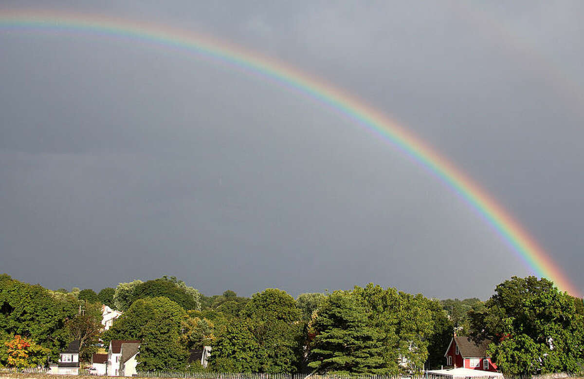 Photo by Chris Bosak Commuters passing through Norwalk near exit 16 on Friday evening were treated to rainbow visible heading eastward.