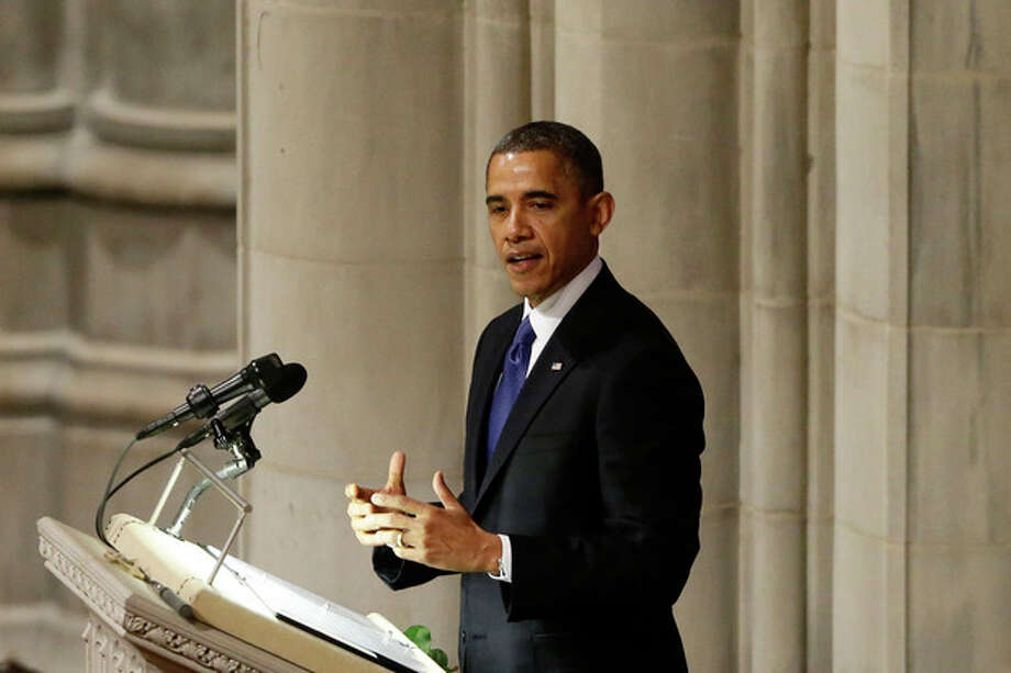 President Barack Obama speaks at the funeral service for the late Sen. Daniel Inouye, D-Hawaii, at the Washington National Cathedral, Friday, Dec. 21, 2012. (AP Photo/Charles Dharapak) / AP