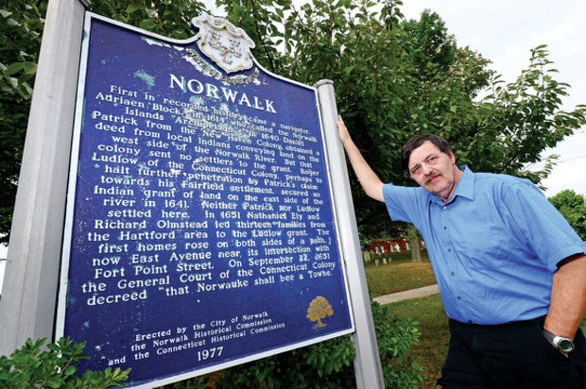 Hour photo/Erik Trautmann Ed Eckert can trace his lineage back to Richard Olmstead, who helped found Norwalk in 1651.
