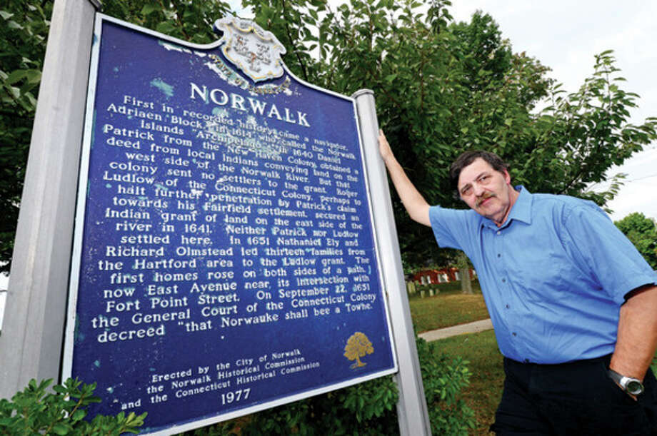 Hour photo/Erik TrautmannEd Eckert can trace his lineage back to Richard Olmstead, who helped found Norwalk in 1651. / (C)2013, The Hour Newspapers, all rights reserved