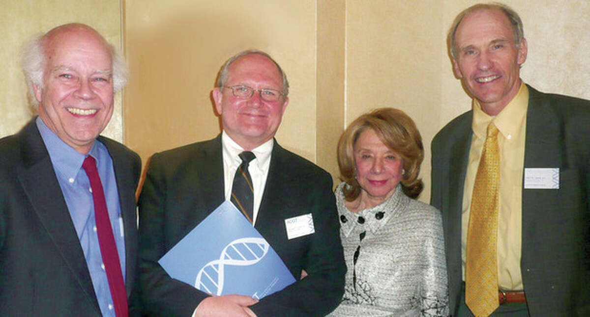 Contributed photos Above, from left to right: Dusty Miller, Michael Lotze, ACGT Co-Founder Barbara Netter and Dr. Carl June at ACGT's 10th Anniversary dinner. Below, from left to right, Margaret Cianci, ACGT executive director, and Dr. June.