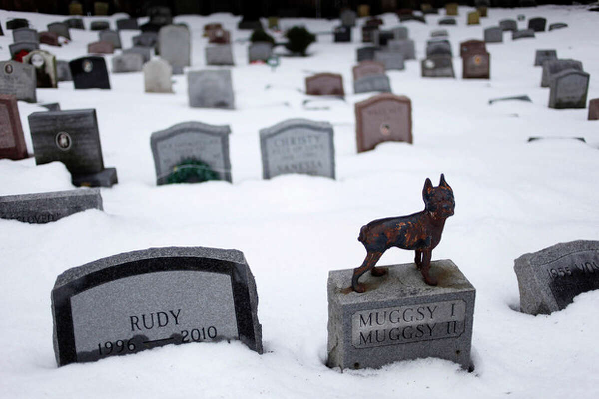 FILE- In this Jan. 19, 2011 file photo, headstones marking the graves of pets are spread throughout the Hartsdale Pet Cemetery in Hartsdale, N.Y. The New York Daily News reports on Saturday, Sept. 14, 2013, that officials in New York have finalized rules allowing pet cemeteries to accept the cremated remains of humans. The New regulations will allow New York animal lovers to spend eternity with their pets. (AP Photo/Seth Wenig, File)