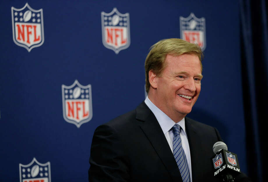FILE - In this May 21, 2013, file photo, NFL Commissioner Roger Goodell speaks during a news conference at the NFL football spring meeting in Boston. Goodell says Wednesday, Sept. 18, 2013, that he believes new player safety rules in the NFL are working. (AP Photo/Elise Amendola, File) / AP