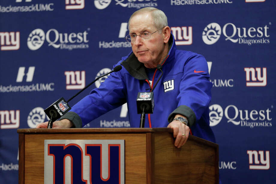 New York Giants head coach Tom Coughlin talks to the media during an availability before the start of NFL football practice, Wednesday, Sept. 18, 2013, in East Rutherford, N.J. The Giants announced Wednesday, that Coughlin's brother, John Coughlin of Hackensack, N.J, died on Monday night at Hackensack University Medical Center. He was 63. There was no cause of death listed, but a funeral home handling the arrangements said the death was unexpected. (AP Photo/Julio Cortez) / AP