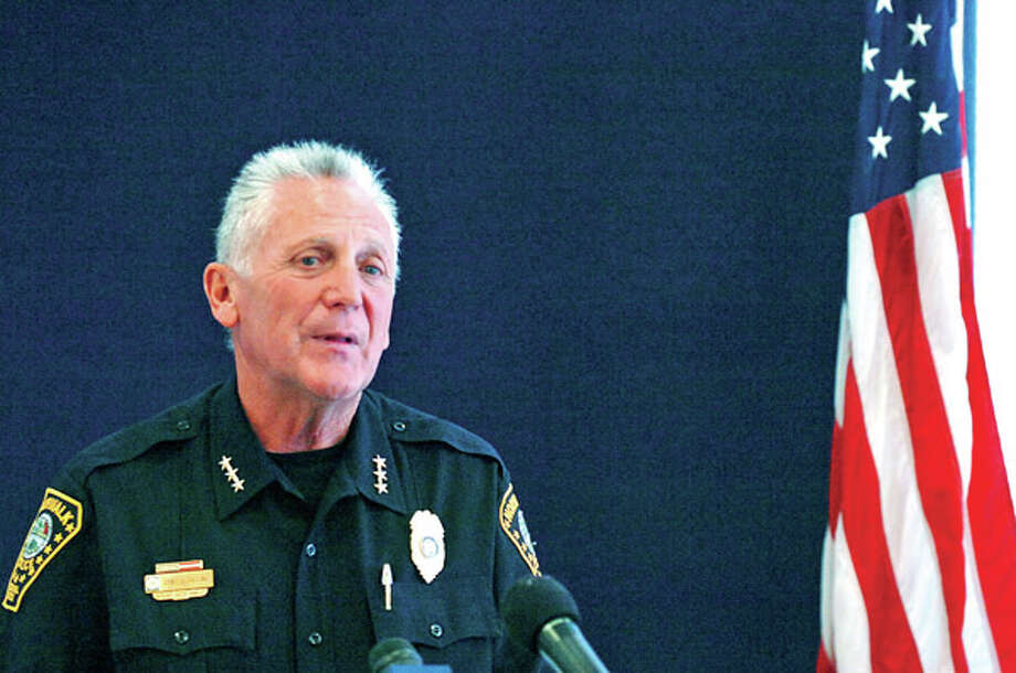 Norwalk Police Chief Harry Rilling speaks during a preess conference where he announced his retirement at Ploice HQ. / (C)2012, The Hour Newspapers, all rights reserved