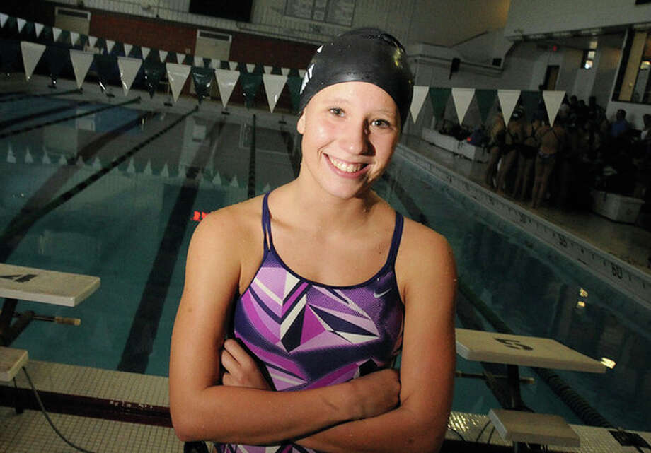 Westhill girls swimming, Erin Gray, on the record. Hour photo/Matthew Vinci