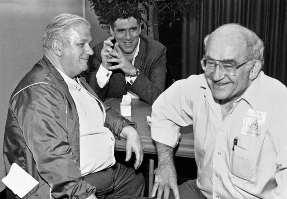 FILE - In this Saturday, March 3, 1984 file photo, from left, actors Charles Durning, Eliott Gould and Screen Actors Guild President Ed Asner take a break before the filming of the 50th Anniversary Special celebrating the guild in Santa Monica, Calif. Durning, the two-time Oscar nominee who was dubbed the king of the character actors for his skill in playing everything from a Nazi colonel to the pope, died Monday, Dec. 24, 2012 at his home in New York City. He was 89. (AP Photo/Heung Shing Liu) / AP