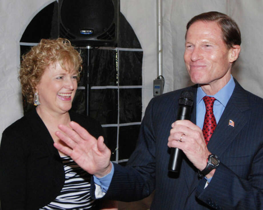 AP photoU.S. Sen. Richard Blumenthal speaks to attendees at the 11th Annual STAR Gala at Wee Burn Country Club. STAR's Executive Director Katie Banzhaf looks on.